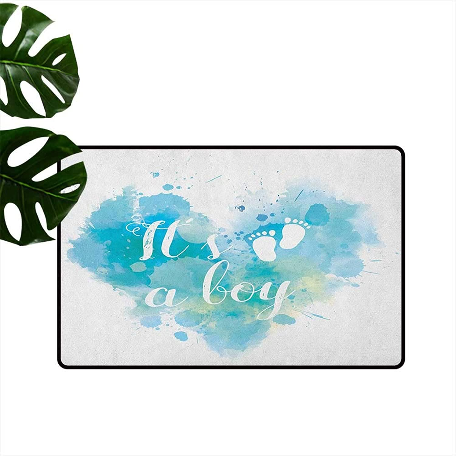 Gender Reveal Non-Slip Door mat Its A Boy Quote on Grunge Pastel Background with Brushstroke Effect Easy to Clean W35 x L59 Turquoise and bluee