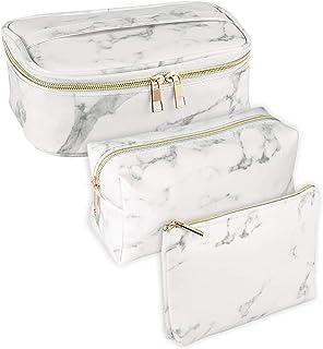3 Pack Marble Makeup Bag Toiletry Bag Travel Bag Portable Cosmetic Bag Waterproof Organizer Bag for Women Girls