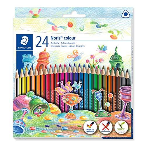 STAEDTLER 187 C24 Noris Colour Buntstift (erhöhte Bruchfestigkeit, Dreikantform, attraktives Design, ergonomische Soft-Oberfläche, Wopex Material, Set mit 24 brillanten Farben im Kartonetui)