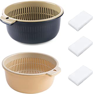 2-in-1 Fruit Basket Kitchen Multi-Function Kitchen Colander/Filter Bowl Set, Double-layer Basin And basket, Clean, Wash, M...