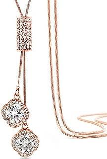 Z-Jeris Women's Crystal Flower Jewelry Tassel Pendant Long Chain Necklace