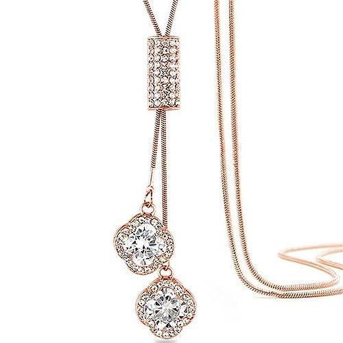 10b075e3ab4ad Z-Jeris Women s Crystal Flower Jewelry Tassel Pendant Long Chain Necklace