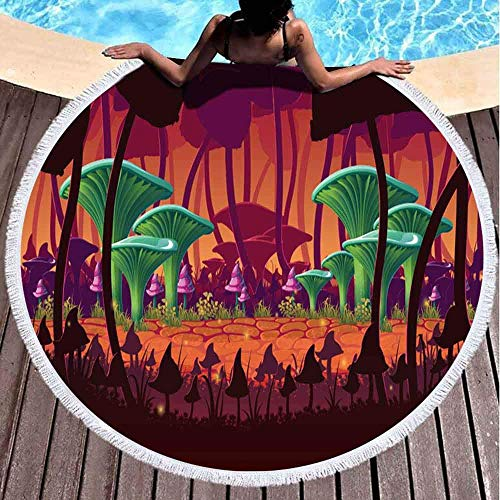 Toallas de playa redondas para niños, fondo horizontal, paisaje alternativo profundo, ecosistema, planeta, hongos gigantes, 60 x 60 pulgadas, toalla de playa grande redonda para niños, mujeres y niños