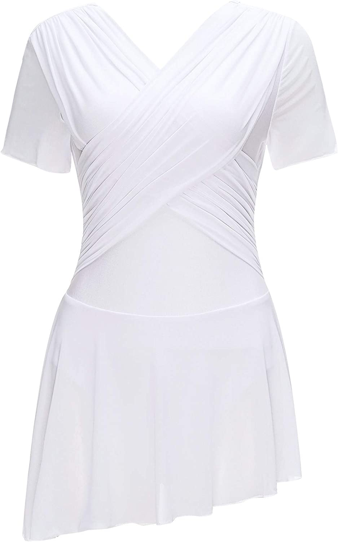 YOOJOO Women's Lyrical Dance Costume Super beauty product restock quality Ranking TOP9 top Asymmetric Pleate Hem Skirt