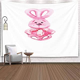 Asdecmoly Wall Tapestry, Printing Tapestries for Living Room Christmas and Bedroom 80 Lx60 W Inches Watercolor Picture Funny Rabbit White Background Art Printing Inhouse,Brown White
