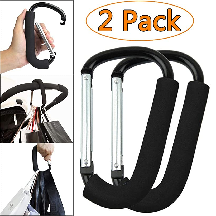 2 Pack X-Large Stroller Hooks, Organizer for Hanging Purses, Diaper Bag, Luggages, Shopping Bags, Carry Handle with Sponge, Best for Women & Men (6.2'' x 3.9'' x 0.4'' inches, Black)