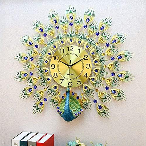 ZGDXF Gran teacock Wall reloj de pared salón decoración de pared decoración de la casa decoración de la casa Europa Peacock reloj de pared cristal salón