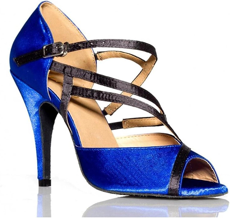 Women's Latin shoes Sparkling Glitter Sandal Ballroom shoes Heel Performance Professional Rhinestone Sparkling Glitter Flared Heel Party & Evening Black bluee (color   A, Size   35)