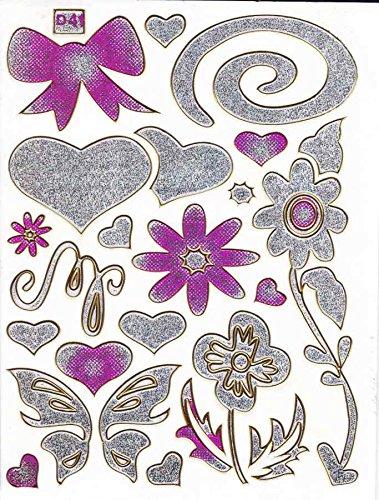 Coeur Amour Love fleurs Multicolore autocollants 23 pièces 1 feuilles 135 mm x 100 mm Stickers bricolage enfants PARTY métallique