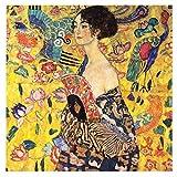 LegendArte Stampa su Tela - Dama con Ventaglio - Gustav Klimt cm. 90x90 - Quadro su Tela, Decorazione Parete