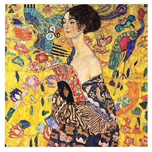 Legendarte Cuadro Lienzo, Impresión Digital - Dama con Abanico - Gustav Klimt cm. 90x90 - Decoración Pared