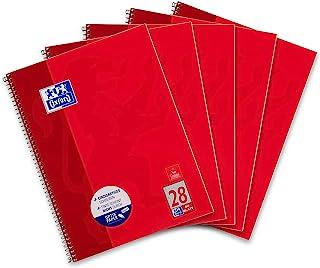 Oxford Collegeblock A4 kariert, 80 Blatt, Rot, 5er Pack