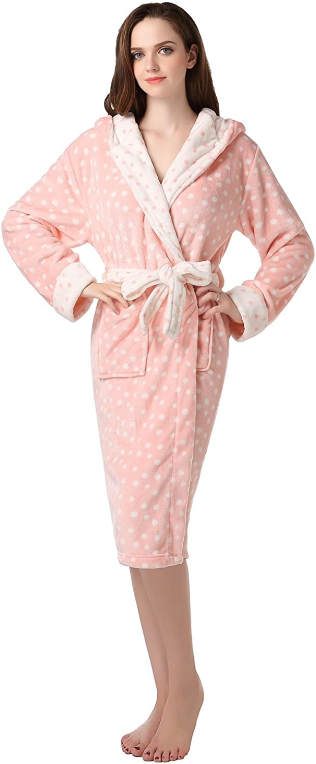 Amemory In Women's Plush Soft Warm Fleece Bathrobe Robe AMW91591