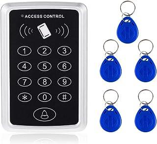 AMOCAM Door Access Control System, 125KHz RFID EM ID Stand-Alone Password Keypad + 5PCS RFID Key Fobs Keychains for Entry ...