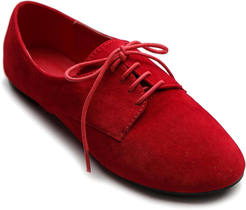 Ollio Women's Ballet Flat shoes Faux Suede Lace up Oxford