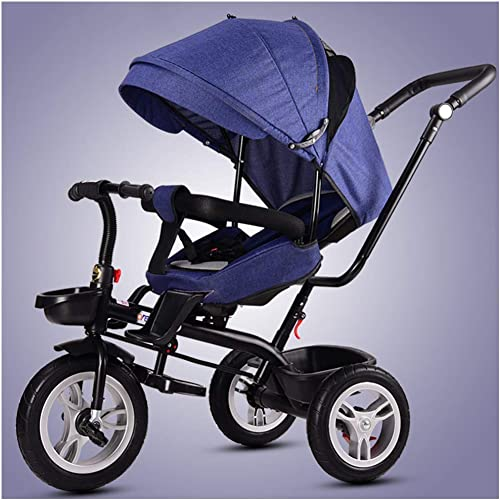 hasta un 60% de descuento JYY Kids Trike 4 4 4 En 1 Cochecito De Bebé Triciclo para Bebés con Asiento Giratorio Y Reclinable para Que Los Niños Duerman Acostados,azul  bienvenido a elegir