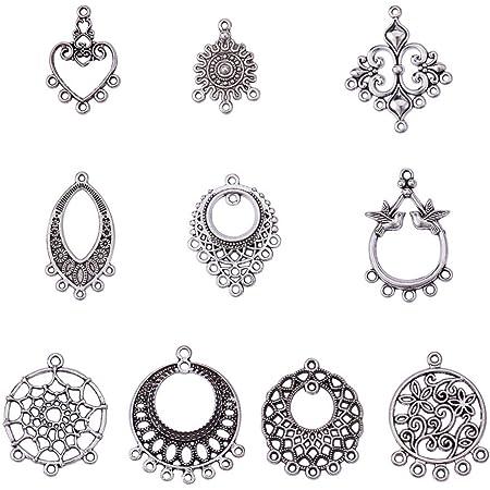 60 mm x 40 mm 2 GRANDS COEURS PENDENTIFS//CONNECTEURS Bijoux ou Craft Making