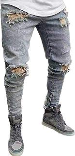 Legou Men's Slim Fit Denim Jeans with Holes