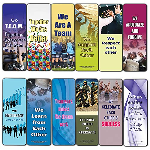 Creanoso Team Building Bookmarks for Adults (12-Pack) – Book Reading Incentives Bookmarker Cards - Stocking Stuffers Gift for Men & Women, Adults – Employee Rewards and Incentives – Page Clip