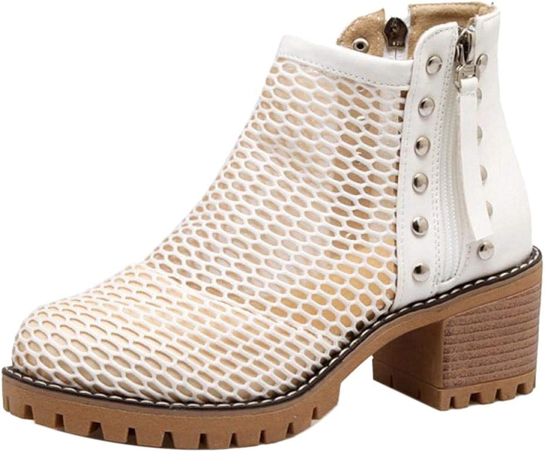 Unm Women's Summer Chunky Heel Bootie shoes