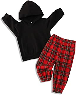 Toddler Baby Boy Girl Outfits Unisex Infant Fall Winter Solid Color Hoodie and Plaid Pants Clothes Sets