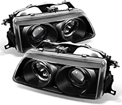 ACANII - For 1990-1991 Honda Civic/CRX LED Halo Ring Black Housing Projector Headlights Headlamps, Driver & Passenge