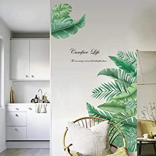 decalmile Giant Green Leaves Wall Decals Palm Tree Leaf Plants Wall Stickers Bedroom Living Room TV Wall Door Decor