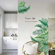 decalmile Muurstickers Gigantische groene bladeren Muurtattoos Palmboom blad planten Wanddecoratie Slaapkamer Huiskamer Ka...