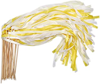 40 Pack Ribbon Wands - MeiMeiDa Yellow Ribbon Fairy Wands with Bell and Smooth Wood Sticks, Chromatic Silk Waving Party Streamers for Wedding Best Wishes, Kids Birthday Props, Dance Party Favors