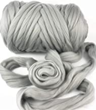 HomeModa Studio Giant Bulky Big Yarn Extreme Arm Knitting Kit Chunky Knit Blanket Very Thick Gigantic Yarn Massive Knitted Loop (Grey, 6.6lbs/150 yard/3kg)