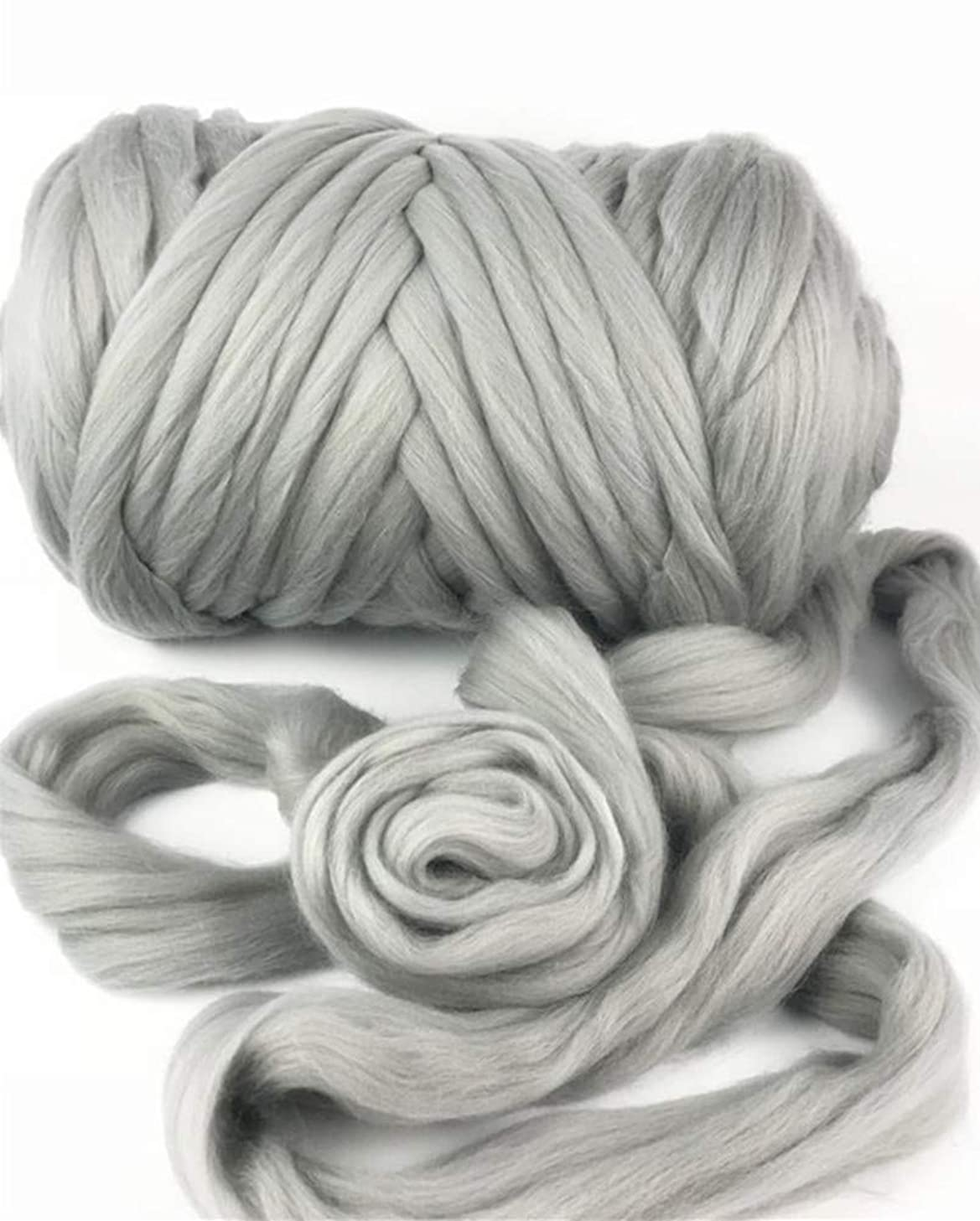 HomeModa Studio Giant Bulky Big Yarn Extreme Arm Knitting Kit Chunky Knit Blanket Very Thick Gigantic Yarn Massive Knitted Loop (Grey, 2.2lbs/57yard/1kg)