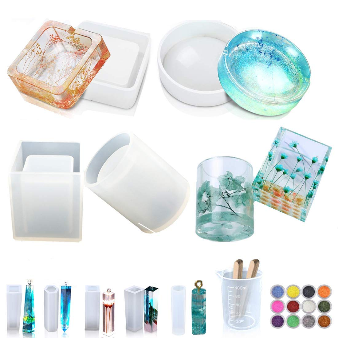 9 Pack DIY Resin Silicone Mold, Resin Ar- Buy Online in Pakistan at  Desertcart