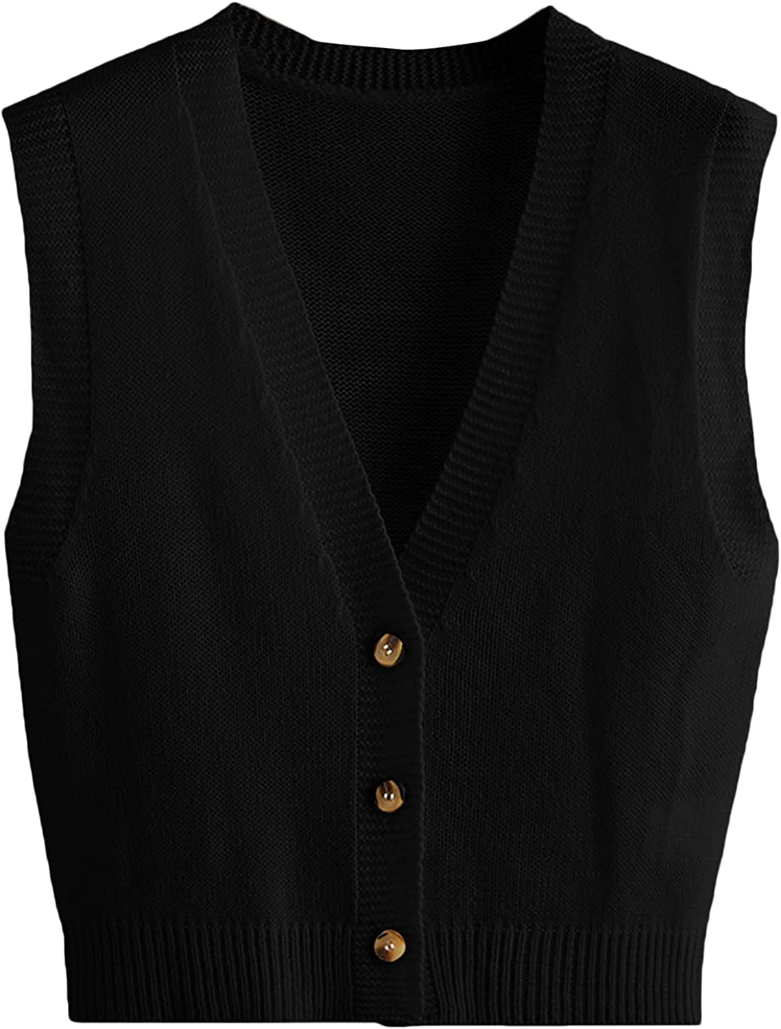 Milumia Women's Deep V Neck Button up Sweater Vest Sleeveless Solid Cardigan Outerwear
