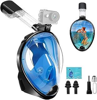 FEI-YU CREATIVE Máscara de Buceo Dual Snorkel 180° Vista Cara Completa Máscara de Snorkel Anti-Vaho Anti-Fugas Correa Ajustable, con Soporte para Cámara Deportiva para Nadar, Bueco