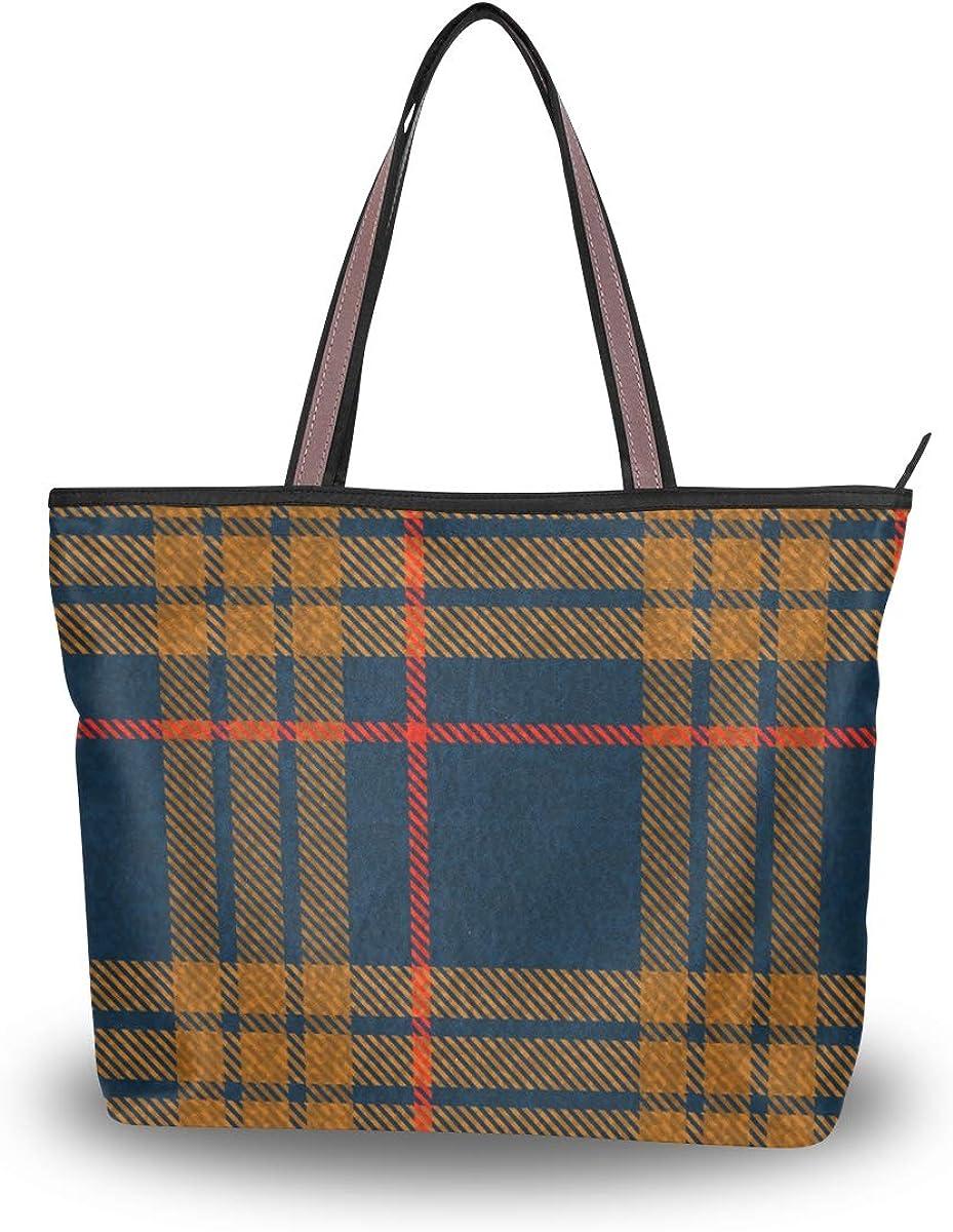 Women's Tote Shoulder Bag Navy Tartan Retro Plaid Hobo Top Handle Bags Shopper Carolie Handbag