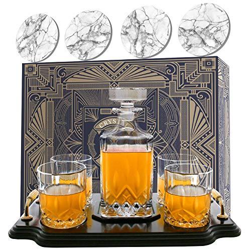 Krown Kitchen - Set con Decanter Whisky. Include: Bicchieri Whisky, sottobicchieri e Base in Legno. Perfetto Regalo per papà. per Bourbon, Scotch, liquori, ECC. 700ml capacità