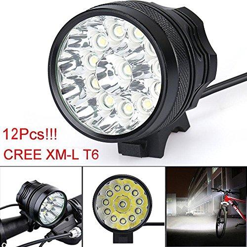 Internet Lumière de vélo, 30000 Lumens Tactical LED 12x CREE XM-L T6 Lumière de Bicyclette Super Bright Militaire de Grade étanche Lampe Frontale 3 Modes Lampe Frontale