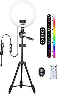 12-inch RGB Selfie Ring Light - Tripod Stand & 2 Phone Holder Lights Dimmable 17 Colors & 4 Flash Modes Remote Control for...