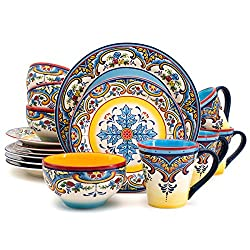 powerful Euro Ceramic Zanzibar Collection Set, 16 Articles in Kitchen and Dining Room, 4 Services …