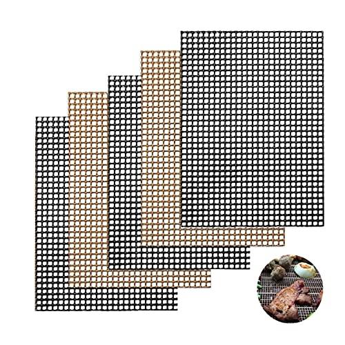 MELARQT Alfombrilla para barbacoa, 5 unidades, reutilizable, antiadherente, accesorio para barbacoa, para carbón vegetal, parrilla de gas, horno, cocinar, 40 x 33 cm (negro + marrón)