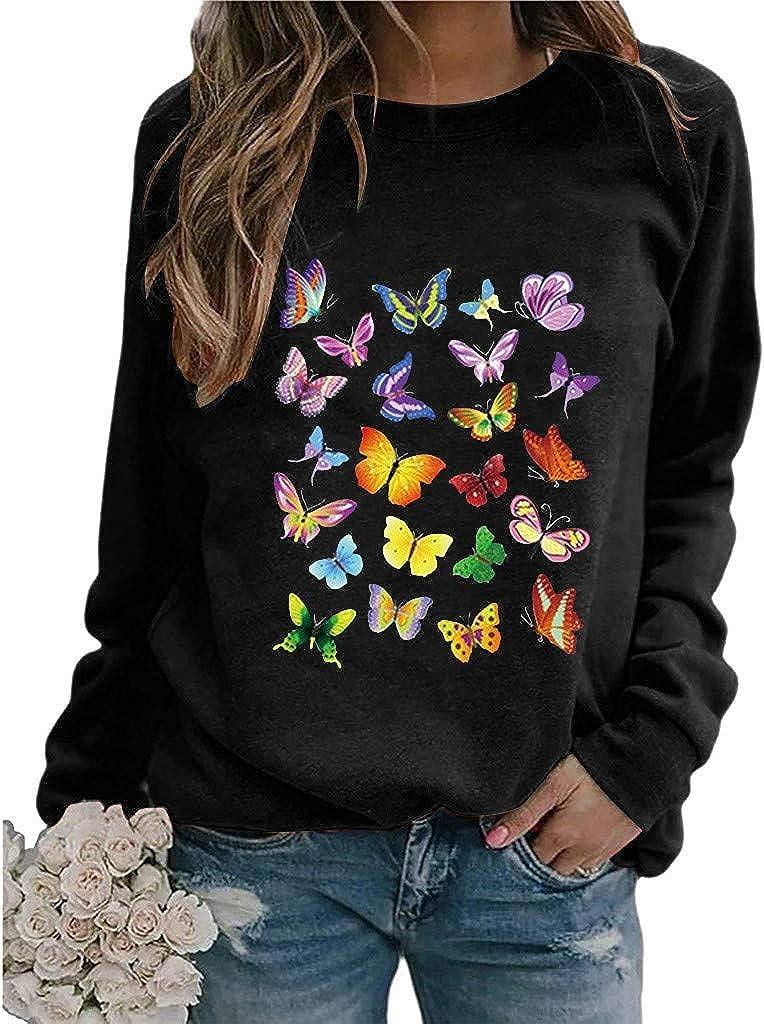 iYmitz Damen Schmetterling Drucken Langarm Sweatshirt Crewneck Pullover Oberteile Damen Herbst Winter Mantel Langarm Lässige Strickpullover mit Schmetterling Motiv ##1-schwarz