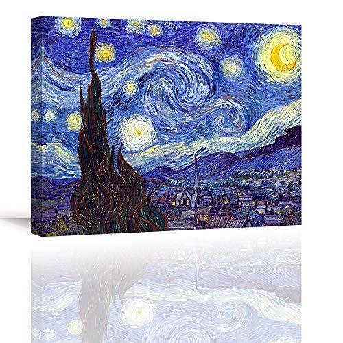 Piy Painting Stampe e Quadri su Tela Starry Night by Van Gogh Riproduzione di Famosi Dipinti ad Olio Paesaggio Astratto Pittura Tela Wall Art Bel Regalo per Home Room Decor Regalo di Natale 30x40cm