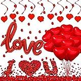 YiYa Juego de decoraciones de San Valentín Contiene globos en forma de corazón Love Globos de papel de aluminio pétalos rosa y remolinos de corazón para el día de San Valentín boda fiesta decoración