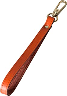 Nanafast Genuine Leather Gold Buckle Wrist Strap Replacement Hands-free Wristlet for Wallets/Keychain/Clutch (Orange)