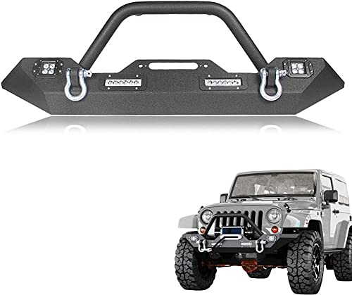 2021 Mallofusa Compatible for 07-17 Jeep Wrangler JK popular Black Textured Rock Crawler Front Bumper With LED Lights & D-Ring & new arrival Bulit-in Winch Mount Plate online