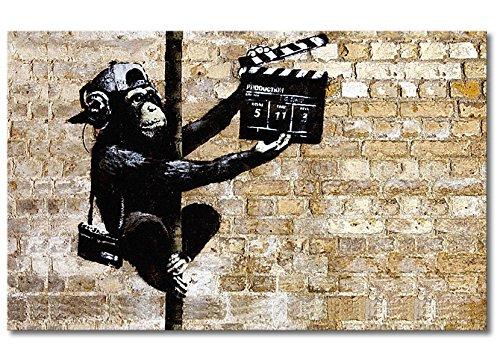 Tableaux-XXL® Impression sur Toile Banksy No.13 80x50cm - 6 Tailles Disponibles. Prêt à accrocher. Tendu sur châssis en Bois. des Motifs imprimés Originaux pour Chambre à Coucher, Chambre d'enfant