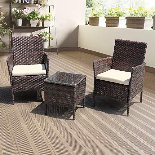 DIMAR GARDEN 3 Pieces Outdoor Patio Furniture Set Porch Conversation Rattan Wicker Chairs with Coffee Table (Mix Brown)