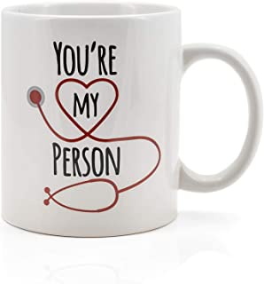 Greys Anatomy You're My Person Ceramic Coffee Cup | Collectible Friendship Celebration Mug | Holds 16 Ounces