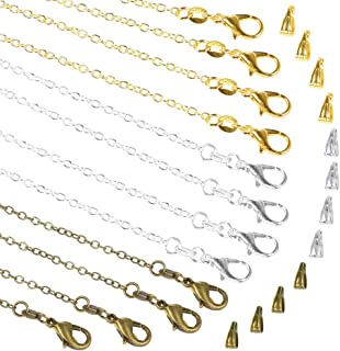 PP OPOUNT 30 Pack NecklaceChains in Gold, Silver and Bronze Plated, Bulk Cable Chain with 60 Pieces Pinch Clasp Bails Dan...