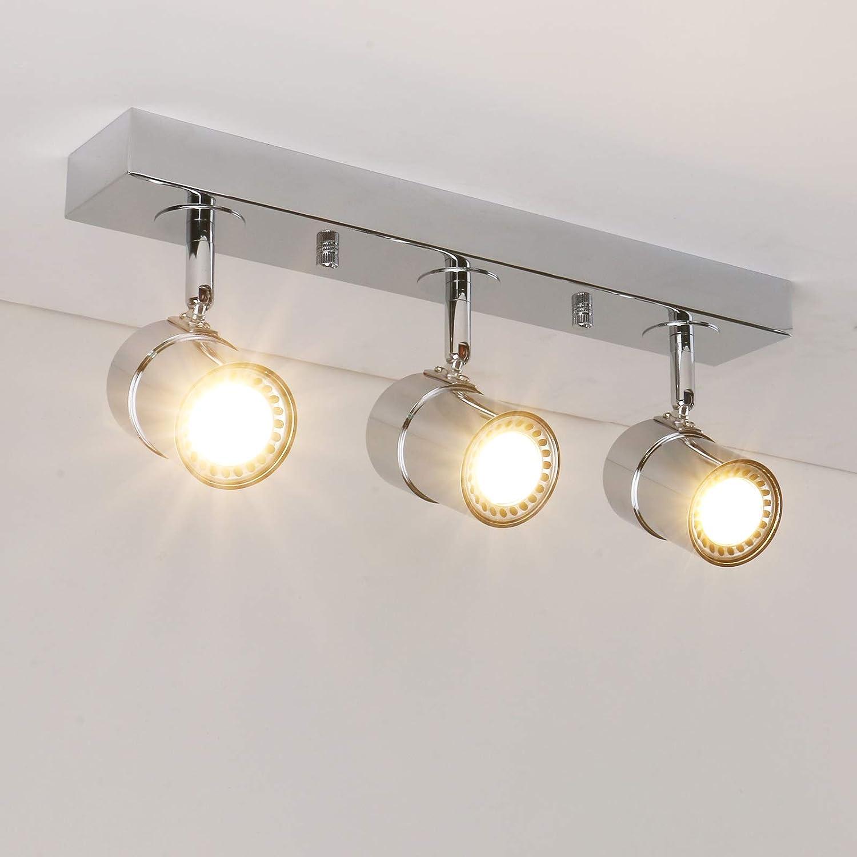 Pathson Vintage Style Tracking Lighting, 3 Lights Indoor Ceiling Light Fixtures, Chrome Antique Finished Hanging Spotlights (Chrome)